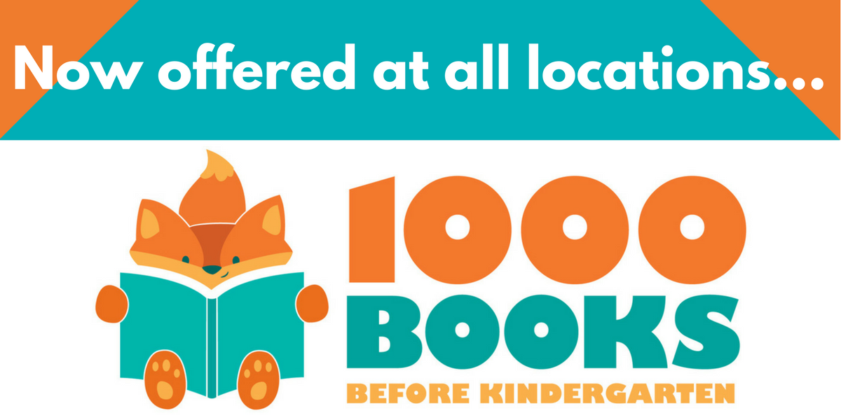 "Slide that says ""Now offered at all locations... 1000 Books Before Kindergarten"""