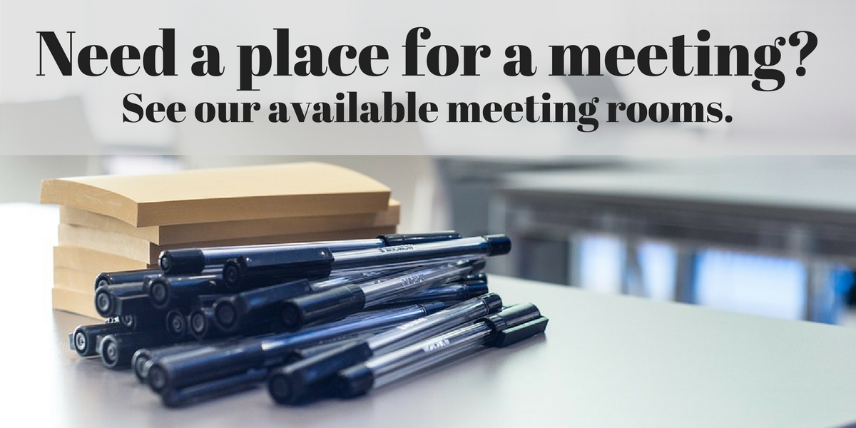 "Slide that says ""Need a place for a meeting? See our available meeting rooms."""