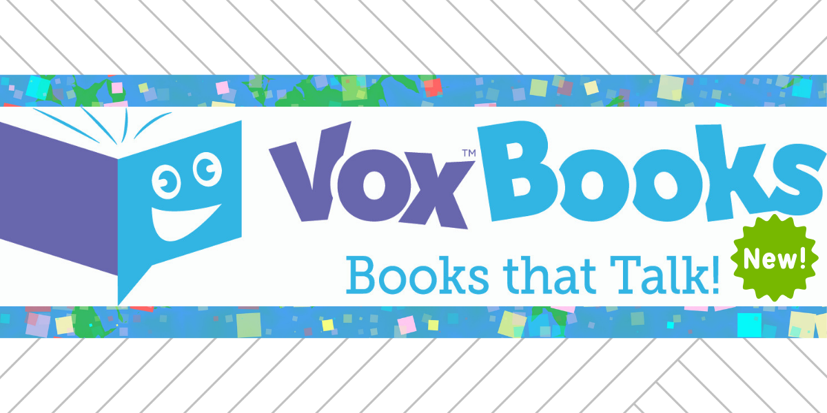 "Vox Books slide with the words, ""Books that talk!"""