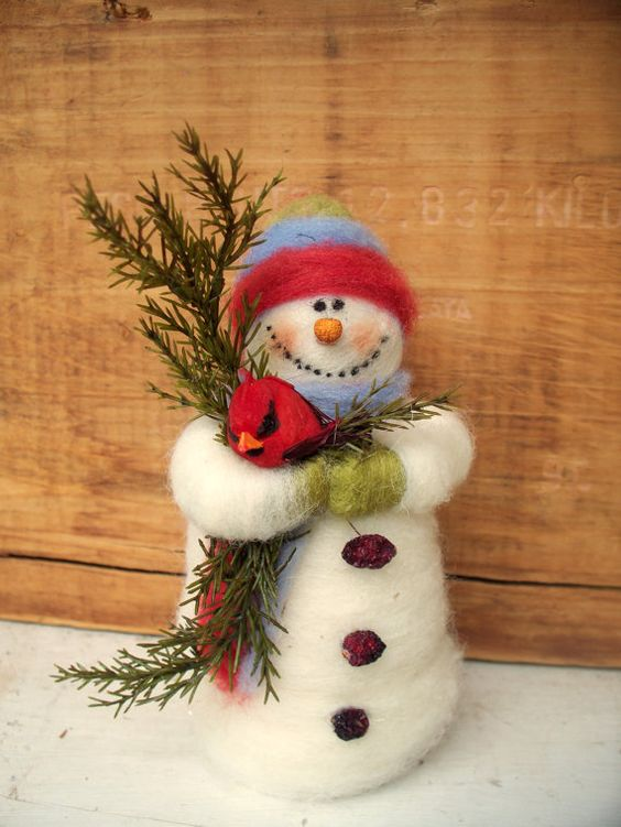 felted snowman craft