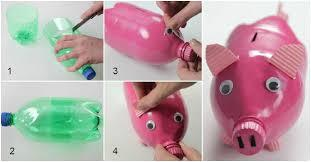 piggy bank made of recycled materials