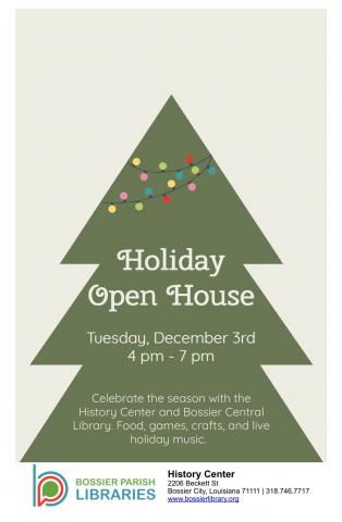 Holiday open house flyer with evergreen